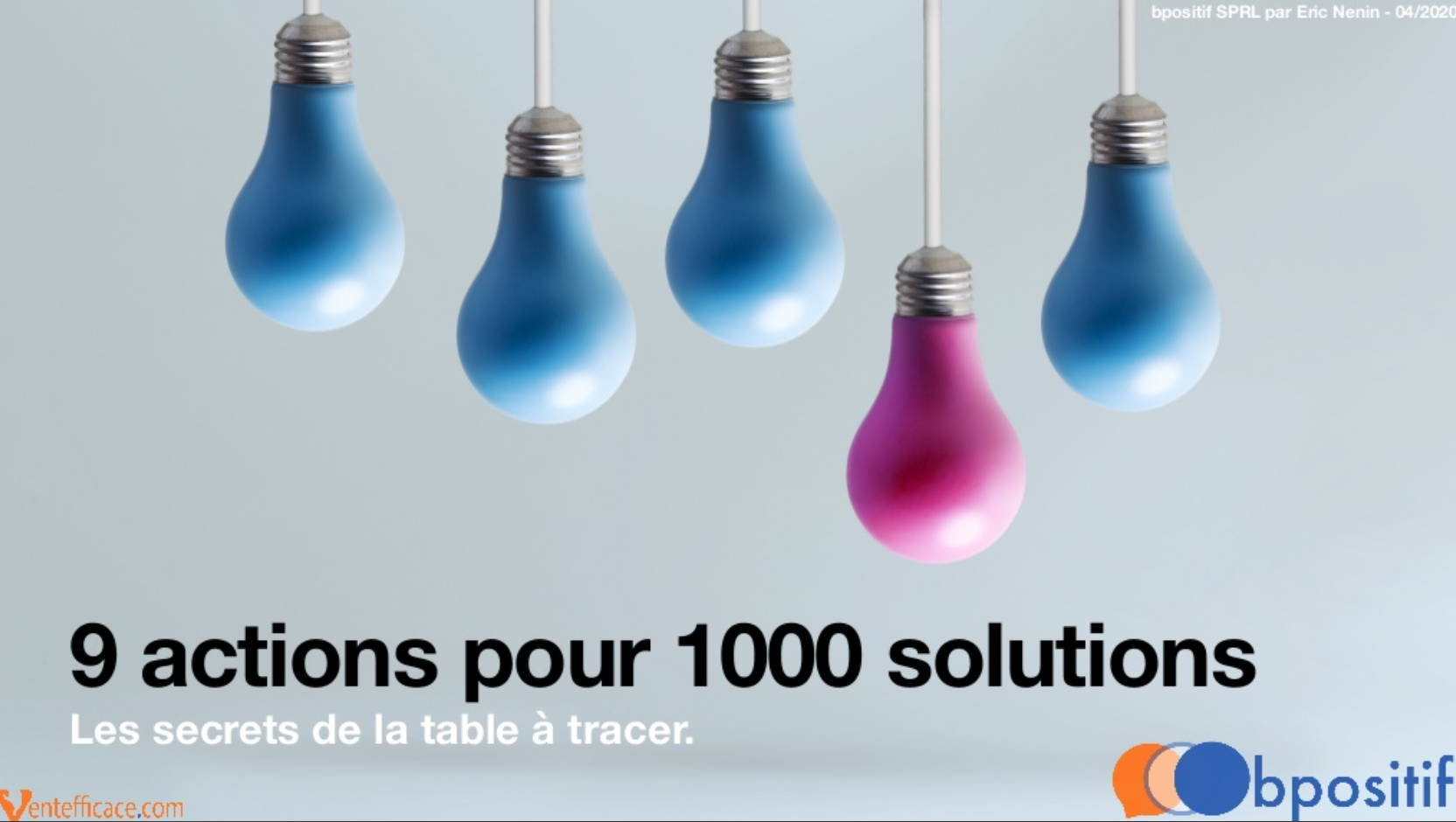 9 actions pour 1000 solutions
